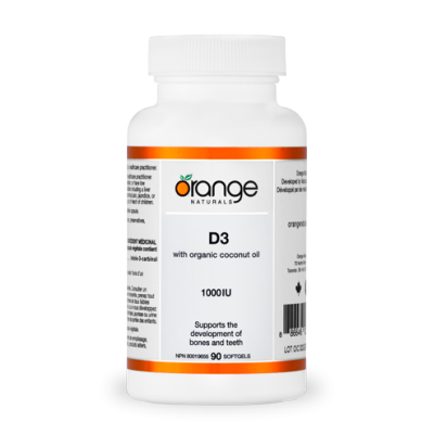 Vitamine D3 1000UI avec Huile de Noix de Coco Biologique 90 gelules