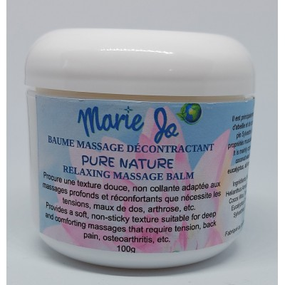 Baume Massage Décontractant Pure Nature Marie Jo 100g