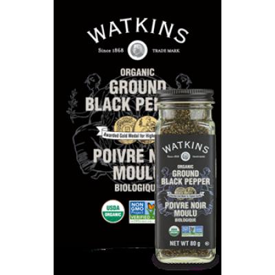 Poivre noir moulu Biologique Watkins 80g