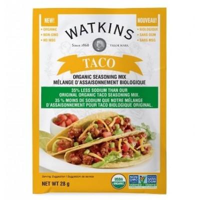 Mélange Assaisonnement pour Tacos Biologique 35% Moins de Sodium Watkins 28g