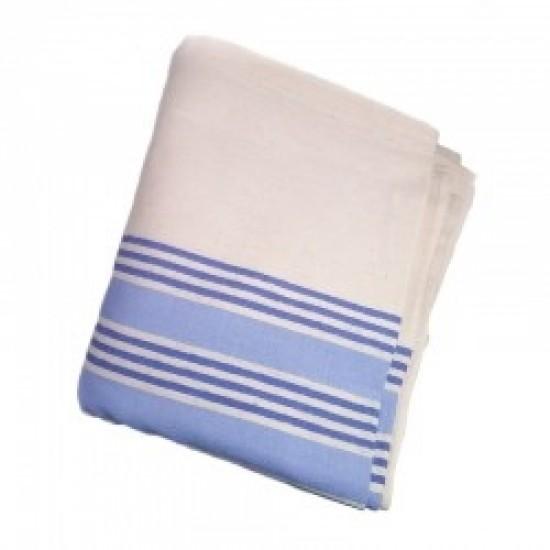 Couverture en Flanelle Blanche Lignes Bleues 72''x90''