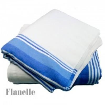 """Couverture flanelle blanche lignes bleues 72""""x90"""""""